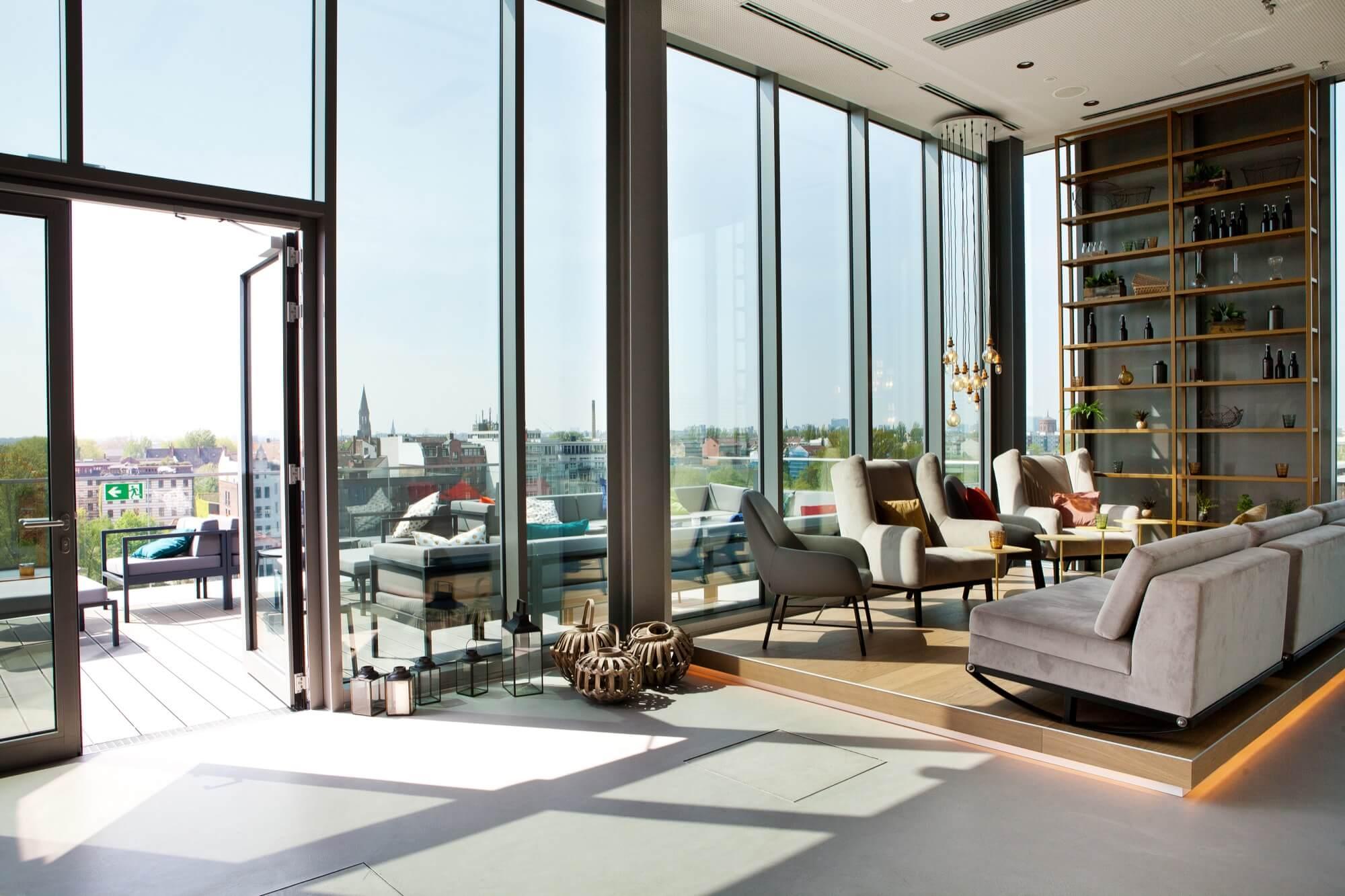 Die Aussicht in der Gallery Rooftop Bar in Berlin